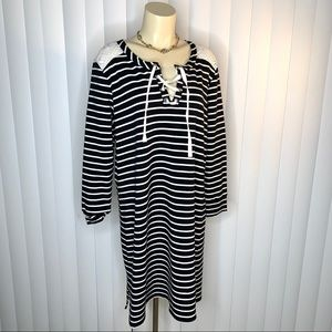 American Rag Mixed Media B&W Striped Knit Dress